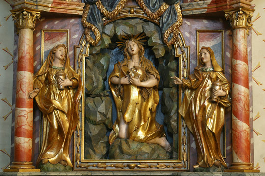 The altar of Saint Mary Magdalene in the church of St. Barbara in Vrapce, Zagreb, Croatia