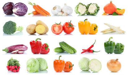 Wall Mural - Collection of vegetables tomatoes carrots lettuce pumpkin fresh food vegetable potatoes isolated