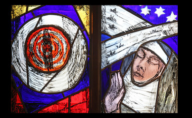 Saint Hildegard of Bingen, stained glass window by Sieger Koder in Benediktbeuern Abbey, Germany