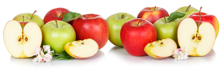 Wall Mural - Apple fruits red and green apples fruit isolated on white in a row
