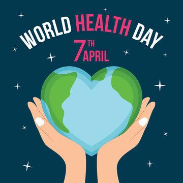 world health day illustration vector, Simple illustration of health day with flat colors