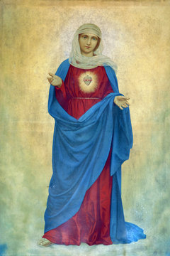 Immaculate Heart of Mary, altarpiece in the Holy Trinity Parish Church in Klenovnik, Croatia