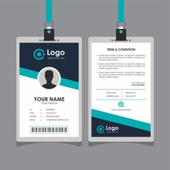 Simple Clean Blue Geometric Id Card Design, Professional Identity Card Template Vector for Employee and Others