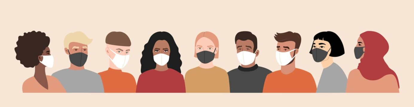 Coronavirus, covid-19. Multi-colored people in white and black face mask. Different nationalities. Vector banner illustration.