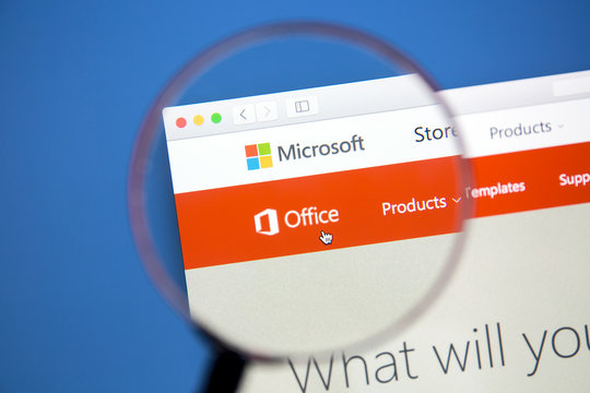 Ostersund, Sweden - Jan 19, 2017: Microsoft Office website on a computer screen. Microsoft Office is an office suite of applications developed by Microsoft.