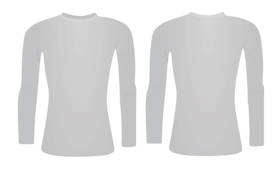 Grey  base layer long sleeve t shirt. vector