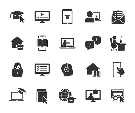 Vector set of online education flat icons. Contains icons remote learning, video lesson, online course, homework, online test, webinar, audio course and more. Pixel perfect.