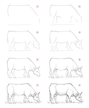 How to draw sketch of imaginary Breton cow. Creation step by step pencil drawing. Education for artists. Textbook for developing artistic skills. Hand-drawn vector on computer by graphic tablet.