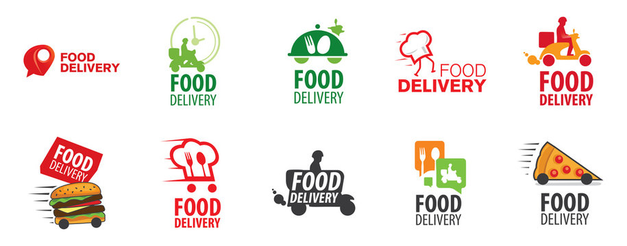 Vector logo of food delivery, courier delivery