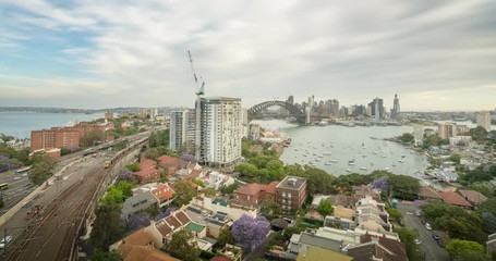 Fotomurales - sunset, time lapse of Sydney harbor, New South Wales, Australia