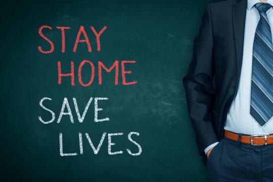Stay home save lives quarantine concept