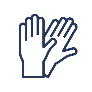 Pair of rubber gloves line, outline icon.