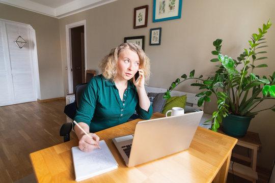 Attractive Eastern European woman working from home during Corona virus quarantine