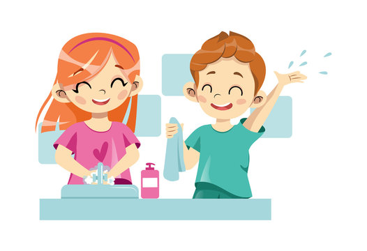 Concept Of Personal Hygiene Rules. Happy Cheerful Children Are Washing Hands Together Under Faucet With Soap In Bathroom. Regular Hygienic Procedures For The Kids. Cartoon Flat Vector Illustration