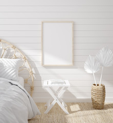 Wall Mural - Mockup frame in bedroom interior background, Coastal boho style, 3d render