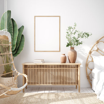 Mockup frame in bedroom interior background, Coastal boho style, 3d render