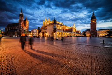 Autocollant pour porte Cracovie Evening in City of Krakow in Poland