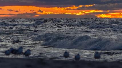 Morze Bałtyckie po zachodzie słońca