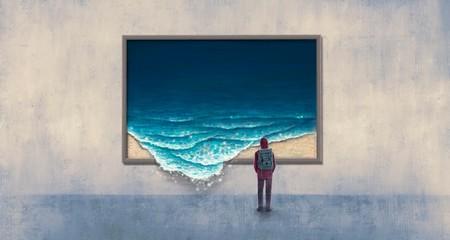 Fototapeta Backpacker looking at surreal wave painting obraz