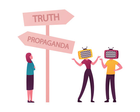Female Characters with Tv Screen Heads Stand on Roadsign with Truth and Propaganda Pointers. Brainwashing Mass Media Manipulation, False Information Concept. Cartoon People Vector Illustration