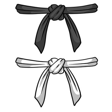 Black and white belt karate and judo. Oriental combat sport. Element of clothing of fighter. Traditional Japanese kimono. Master level set. Hand drawn illustration