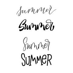 Set of hand lettered summer words. Modern calligraphy inscription for banner, poster, social media, card, store, advertising. Typographic vector design element.