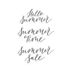 Set of 3 summer signs - hello Summer, summer time, summer sale. Modern calligraphy inscriptions for print, poster, card. Design element.