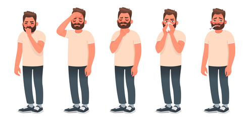 Symptoms of a viral infection and respiratory illness. A sick man coughs and sneezes. Headache, sore throat, runny nose, fever. Papier Peint