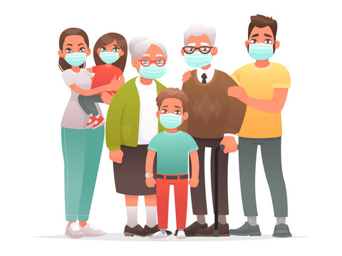 Family in protective medical masks. Mother, father, grandparents, children protect themselves from the virus or from air pollution. Coronavirus.