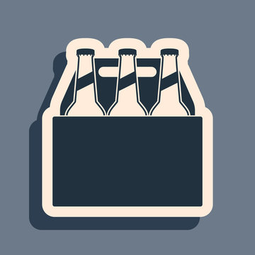 Black Pack of beer bottles icon isolated on grey background. Case crate beer box sign. Long shadow style. Vector Illustration