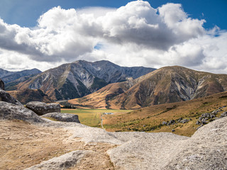 Aerial view of Castle Hill Peak from the top of Kura Tawhiti rock in Arthur's Pass National Park, New Zealand.