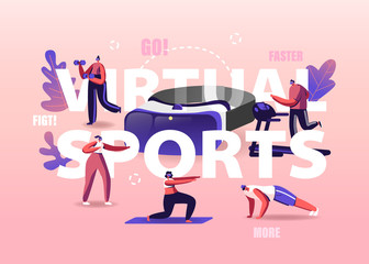 People Use Virtual Reality Concept. Tiny Characters Wearing Vr Goggles Exercising on Treadmill, Fighting, Push Up, Augmented Reality Sports Workout Poster Banner Flyer. Cartoon Vector Illustration
