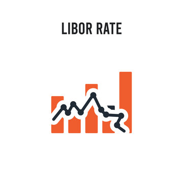 Libor rate vector icon on white background. Red and black colored Libor rate icon. Simple element illustration sign symbol EPS