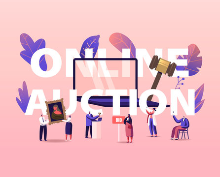 Online Auction Concept. People Buying Assets in Internet. Tiny Male and Female Characters around of Huge Laptop, Gavel Holding and Rising Bid Boards Poster Banner Flyer. Cartoon Vector Illustration