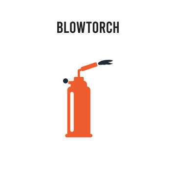 blowtorch vector icon on white background. Red and black colored blowtorch icon. Simple element illustration sign symbol EPS