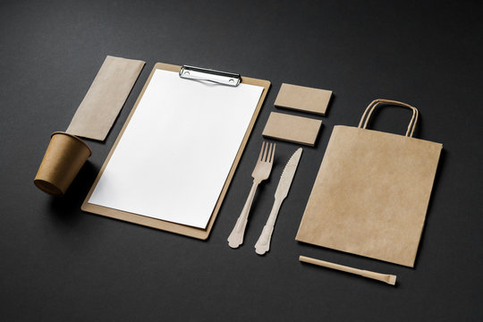 recycled paper corporate identity mockup of the restaurant