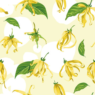 Vector seamless pattern with ylang ylang on a yellow background with white brush strokes Floral Texture with wild tropical flowers