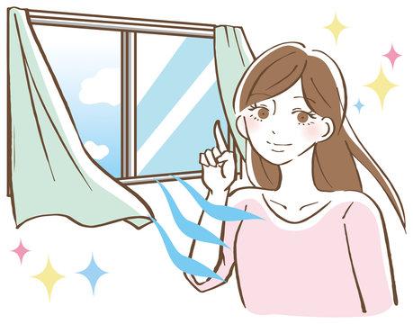 窓を開けて換気する女性 イラスト