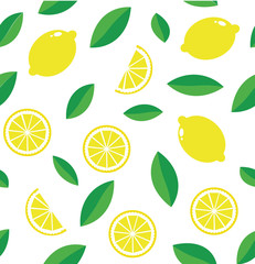 Seamless bright light pattern with fresh lemons for fabric, label drawing, t-shirt printing, children's room Wallpaper, fruit background. Pieces of lemon Doodle style fun background.