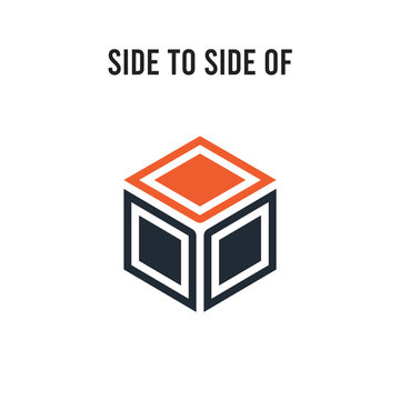 Side to side of a cube vector icon on white background. Red and black colored Side to side of a cube icon. Simple element illustration sign symbol EPS