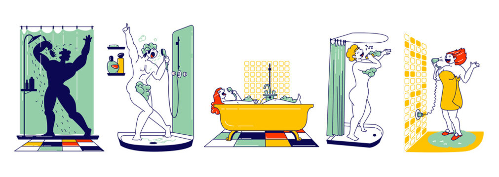 Happy Male and Female Characters Take Shower in Bathroom and Sing. People Washing and Having Fun. Woman Sitting in Tub, Drying Hair, Man in Foam Singing. Hobby and Relax. Linear Vector Illustration