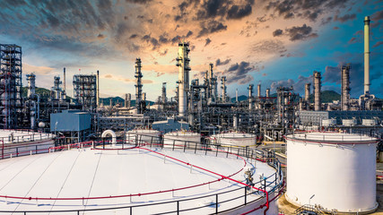 White oil and gas refinery storage tank petrochemical architecture plant industrial, Oil refinery plant from industry zone business power and energy petroleum.