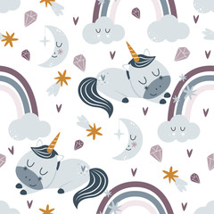 seamless pattern with sleeping unicorn and rainbow on a white background - vector illustration, eps