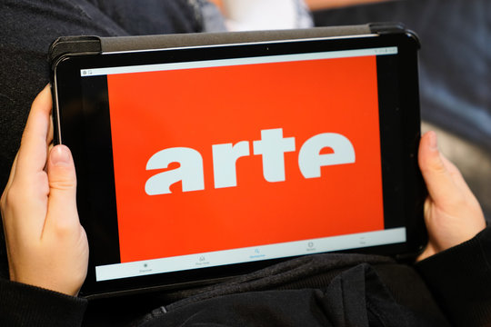 arte logo sign on screen tablet French german television service