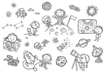 Wall Mural - Cartoon space and astronauts set, coloring page for kids