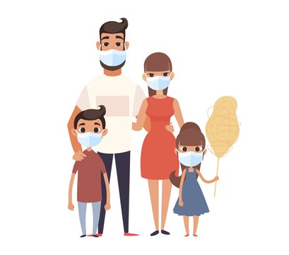 Family wearing face mask. Prevent virus Covid-19. Coronavirus protect concept. People safety corona virus