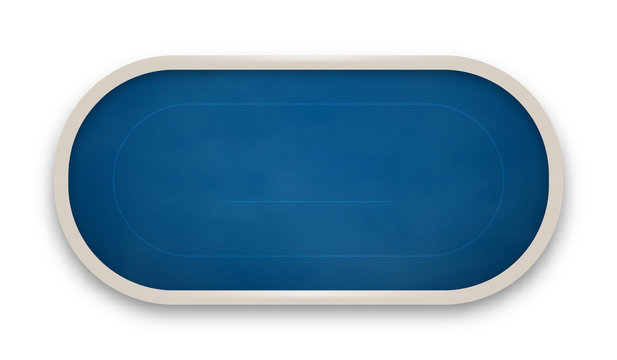 Poker table made of blue cloth isolated on white background.