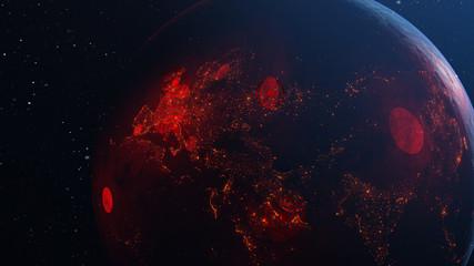 3D illustration of spreading the virus across the globe of planet Earth Fototapete