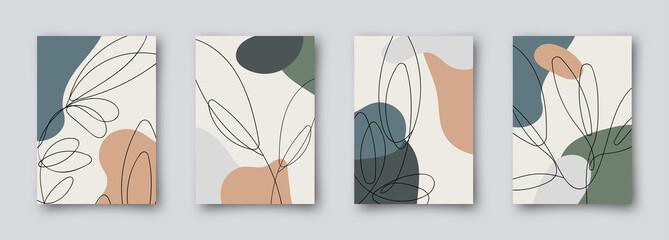 Colorful greeting wedding birthday invitation card illustration set. Flower vector memphis design concept collection Fototapete