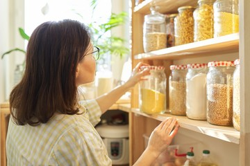 Food storage, woman taking food for cooking